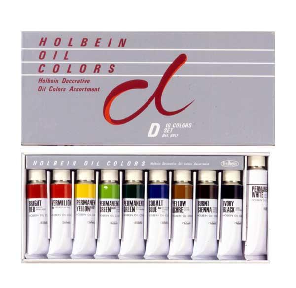 画像1: ホルベイン 習作用油絵具セット Dセット 10色 (1)